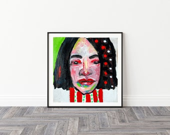 Colorful Whimsical Portrait Polka Dots Unframed Painting Print