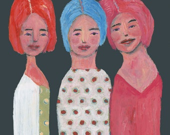 Unframed Sisters Painting Print, Sisters Gift for Whimsical Sisters