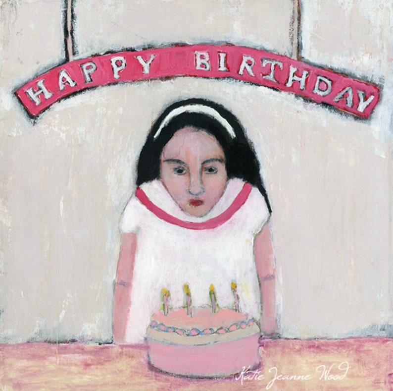 Birthday for a Child or Woman Happy Birthday Cake Painting image 0