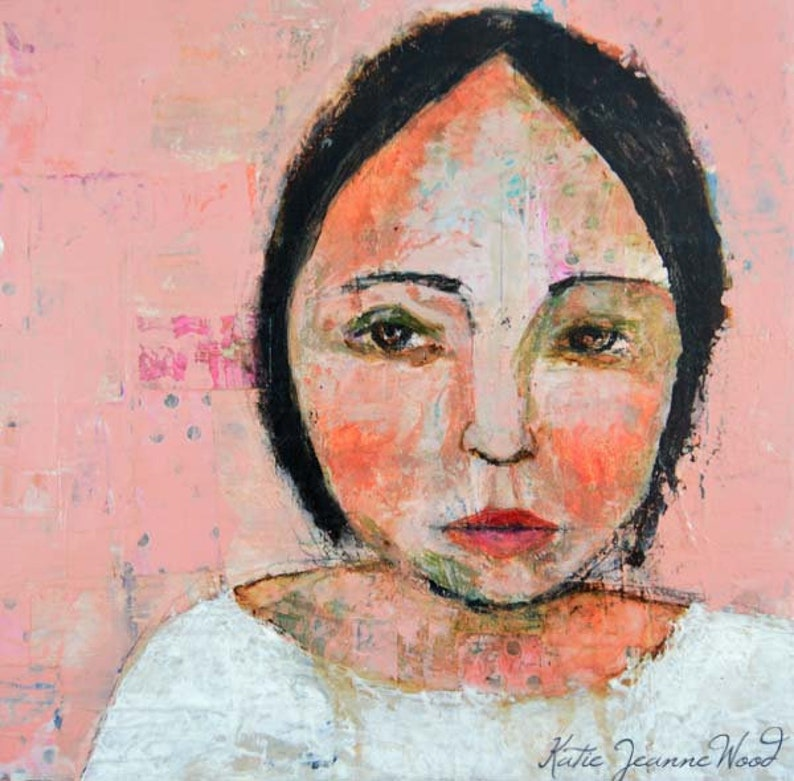 Clearance Sale  Acrylic Mixed Media Collage Portrait Painting image 0