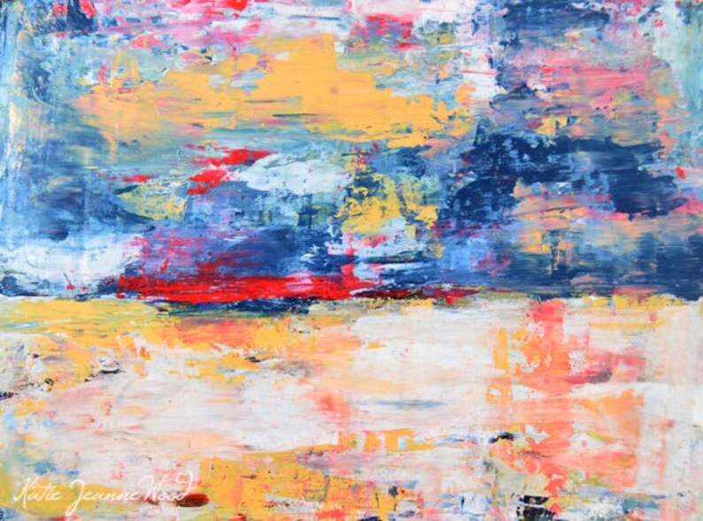 Abstract Landscape Painting Print  Gift For Father Dad Man image 0