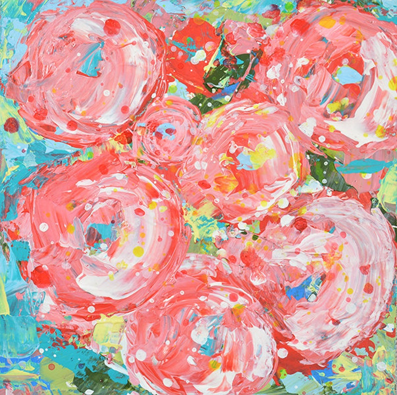 Pink and Blue Teal Roses Flower Acrylic Painting No 320 image 0