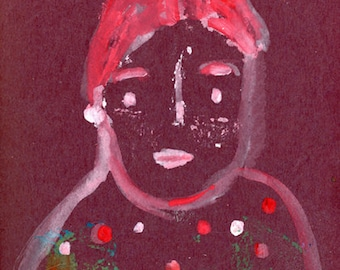 Outsider Brut Raw Portrait Painting Unframed Prints For Her - Pearl Earring
