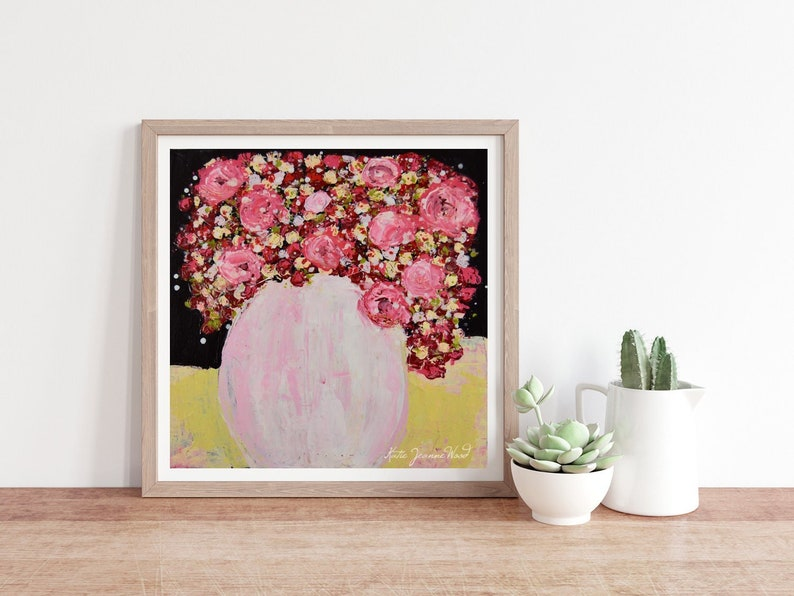 Pink & Red Roses Flower Unframed Print Floral Painting No 229 image 0