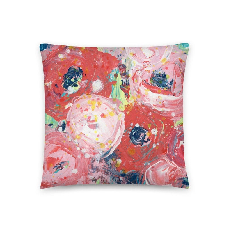 Pretty Floral Pillow  Red Roses Throw Pillow for Living Room image 0