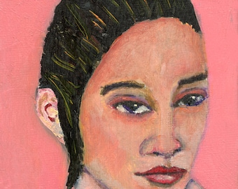 Pink Woman Oil Unframed Painting Print - Charisma