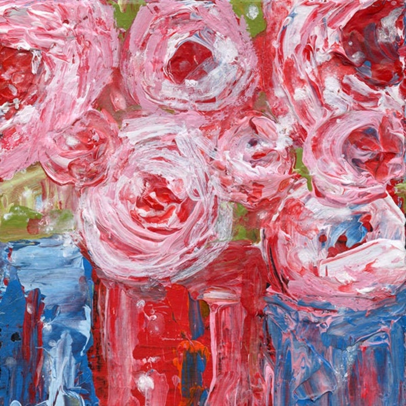 Pink Abstract Rose Flower Art Farmhouse Canvas Painting  image 0