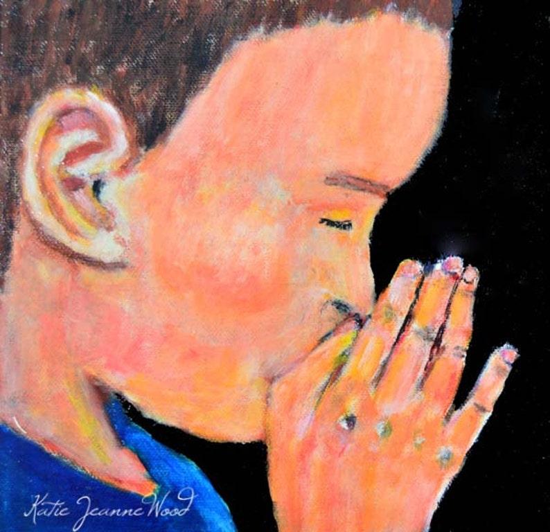 Christian Gift Religious Boy Praying Painting image 0