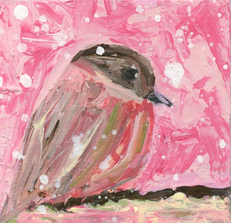 Chickadee Miniature Bird Palette Knife Painting No 115 image 0