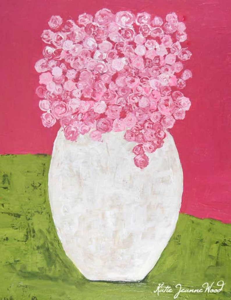 Large Cottage Chic Roses Painting. Pink & Green Floral Art No image 0