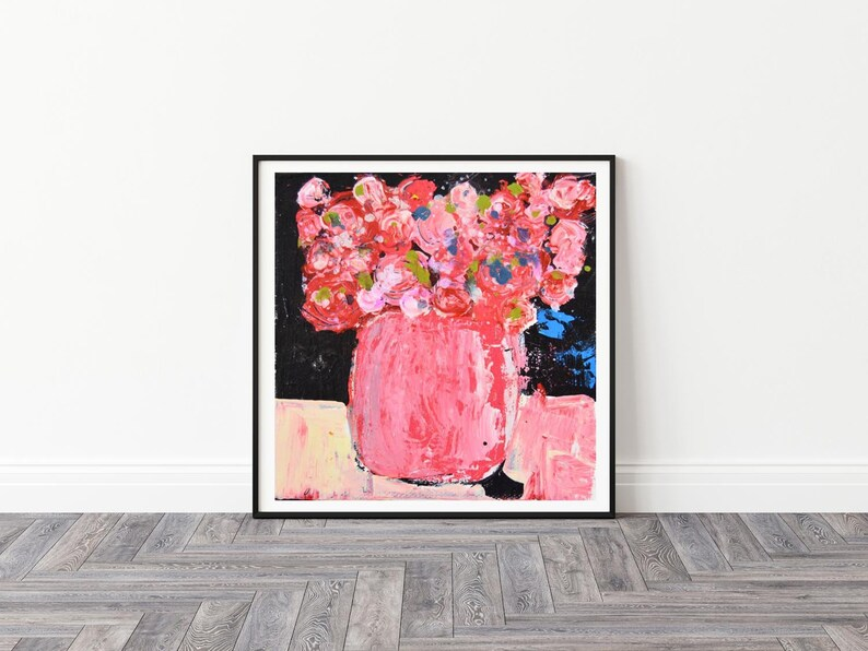 Pink Roses Unframed Painting Print Floral Wall Decor Large image 0