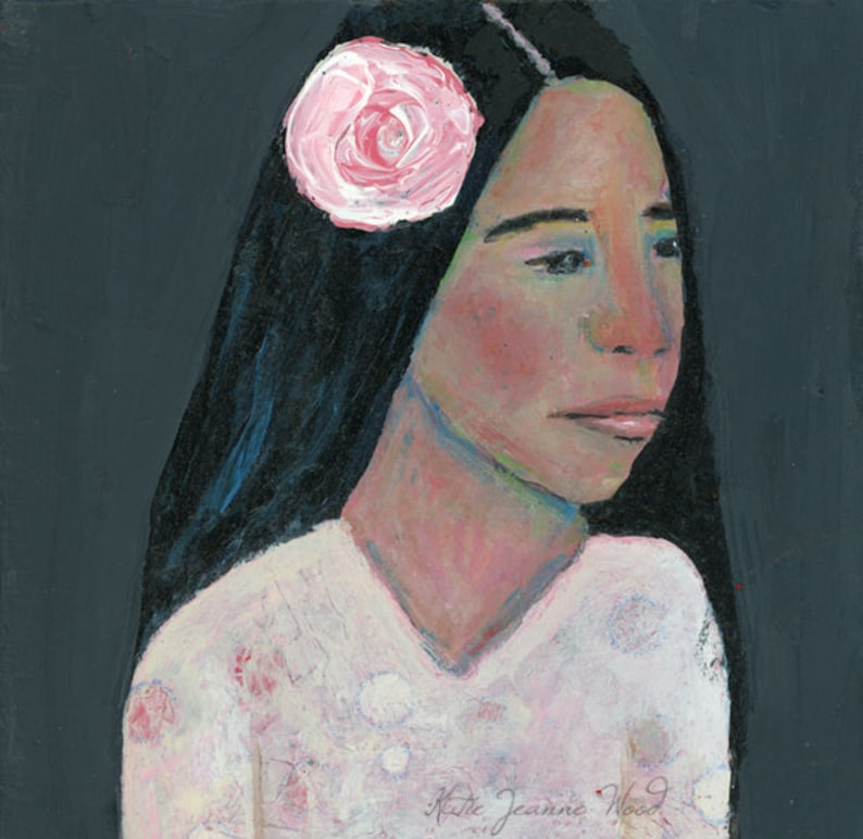 Clearance Sale  Acrylic Portrait Painting Woman Wearing Pink image 0