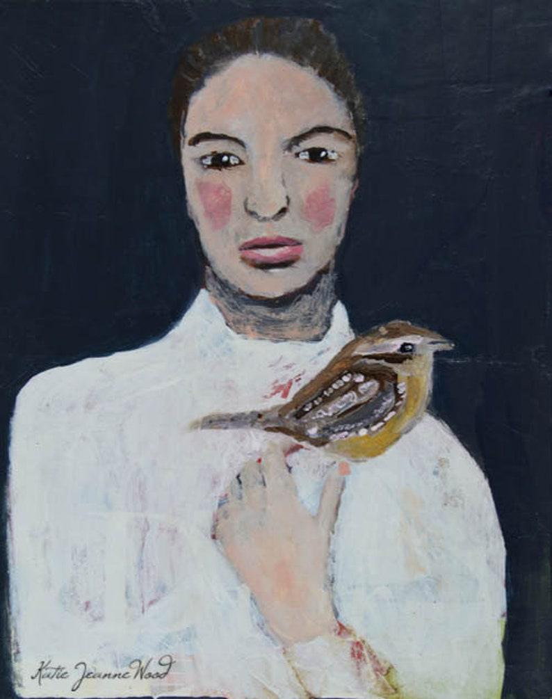 Acrylic Portrait Painting of a Woman & Wren Bird image 0