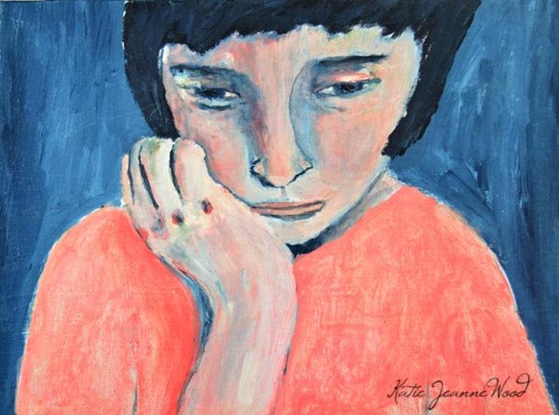 Sad Girl Whimsical Art Blue Print. image 0