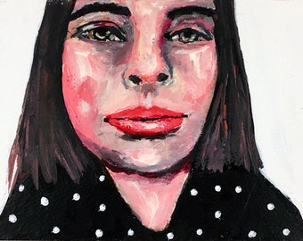Woman Black & White Polka Dots Portrait Painting Print - Surely You Know