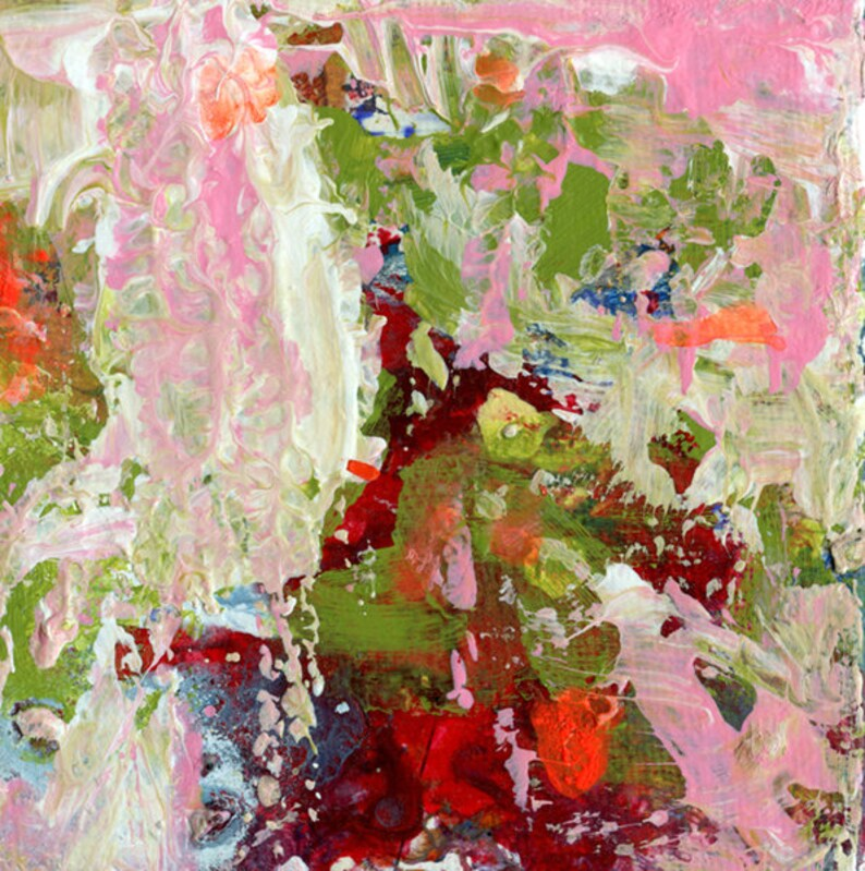 Abstract Painting Print Cottage Chic Green & Pink Abstract image 0