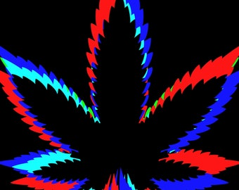 Marijuana Leaf Black Red Blue - 6 Colors - 60 stitches wide x 81 rows high - Crochet Pattern - Pillow-Tote Bag-Afghan-Blanket-Wall Hanging