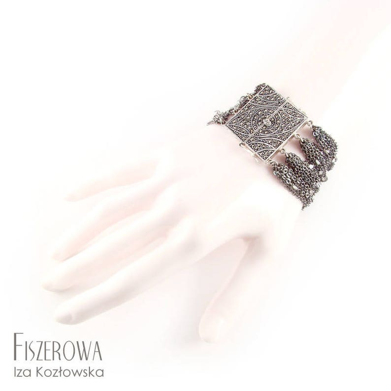 Dhoka - silver bracelet with chains and Swarovski crystals