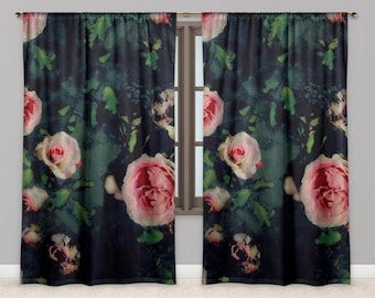 Pink Rose Window Curtains, Big Roses and Dark Green Blue Watercolour Drapes, Garden Flower Graphic Print Window Curtains