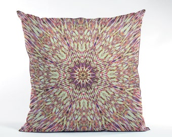 e171131cad9d8c Boho Green and Purple Mandala Throw Pillow Cover, Hippie Style Kaleidoscope  Design Cushion Cover, Radiating Stained Glass Pattern Home Decor