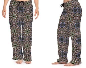 Boho Mandala Women's Pajama Bottoms, Modern Hippie Pattern Lounging Drawstring Pants, Sleepwear