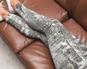 Birch Bark Leggings for Yoga in Capri or Full Length Style, Nature Lover Workout Wear