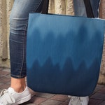 Ombre Blue Wave Canvas Tote, Digital Graphic Denim Pattern Shoulder Carryall School or Beach Bag