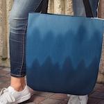 Ombre Blue Wave Canvas Tote, Digital Graphic Denim Pattern Shoulder Carryall School or Beach Bag