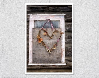 Dried Heart Shaped Wreath on Old Wood Panel, Fine Art Photo Print, Wrapped Canvas Print, Rustic Shabby Heart Country Home Wall Art