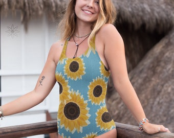 dc1db8aa5c Watercolour Sunflowers Honeycomb Mosaic Swimsuit, Women's One Piece Bathing  Suit Yellow Floral Cornflower Blue Hexagon Tile, Bodysuit