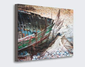Fine Art Photo, Old Abandoned Dilapidated Wooden Boat with Peeling Paint on Beach, Wrapped Canvas Rustic Wall Art