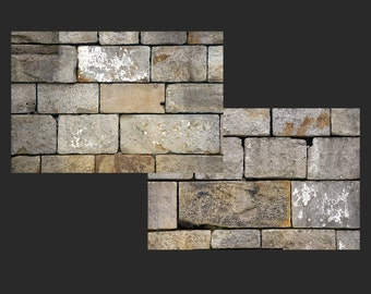 Old Cut Stone Block Digital Photo Background, Grey Stone Blocks with Peeling Paint Styled Industrial Grunge Stock Photo