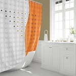 Modern Orange and White Fabric Shower Curtain in Geometric Triangle and Circle Wave Print Pattern