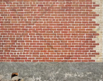 Download Free Old Red Brick Wall Outdoors, Digital Photo Download, Grungy Brick and Cement Wall Stock Background Photo, City Building Wall Surface PSD Template