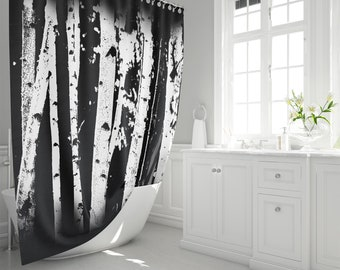 Birch Tree Forest Fabric Shower Curtain Black And White Graphic Fading Trees Nature Inspired Home Decor