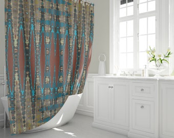 Southwestern Mosaic Print Fabric Shower Curtain Mirrored Zigzag Pattern Home Decor Rust And Turquoise Colour