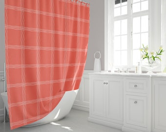Wavy White Plaid And Deep Coral Fabric Shower Curtain