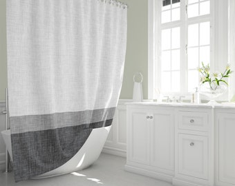 Grey Stripe Shower Curtain In Graphic Burlap Print Pattern Neutral Monochrome Simple Home Man Cave Bathroom Decor