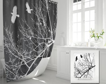 Crows And Trees Fabric Shower Curtain Flying Birds In Branches Silhouette Black White Graphic Gothic Landscape Modern Bathroom Decor