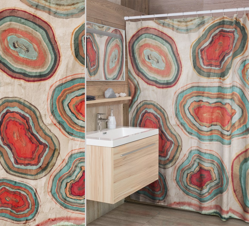 Agate Geode Print Fabric Shower Curtain Coral Teal Brown image 0