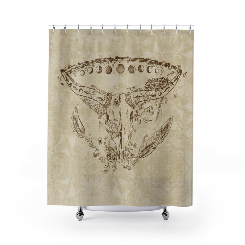 Steer Skull Moons Shower Curtain Sepia and Brown Southwestern image 0