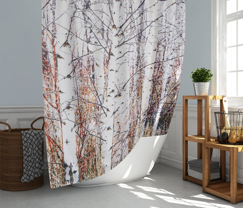 White Paper Birch Tree Forest Shower Curtain Modern Rustic image 0