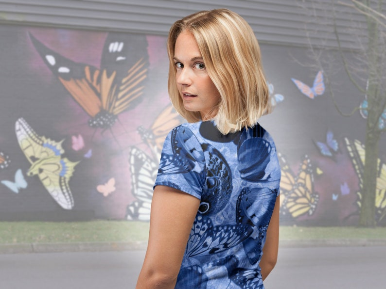 Blue Butterfly Wing Graphic Women's T-shirt Boho Chic image 0