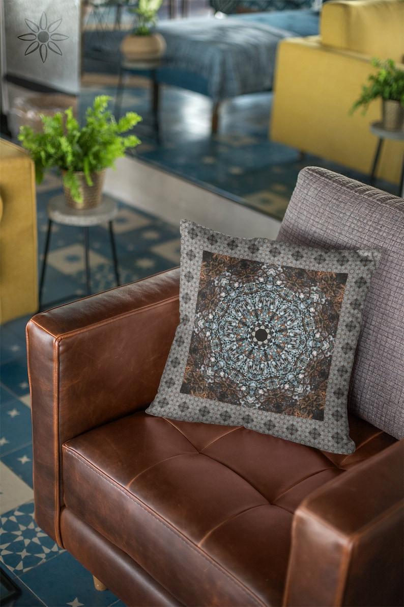 Brown and Blue Mandala Throw Pillow Cover Boho Zen Yoga image 0