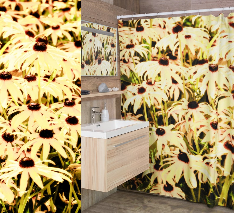 Graphic Black Eyed Susan Flowers Shower Curtains Muted Yellow image 0