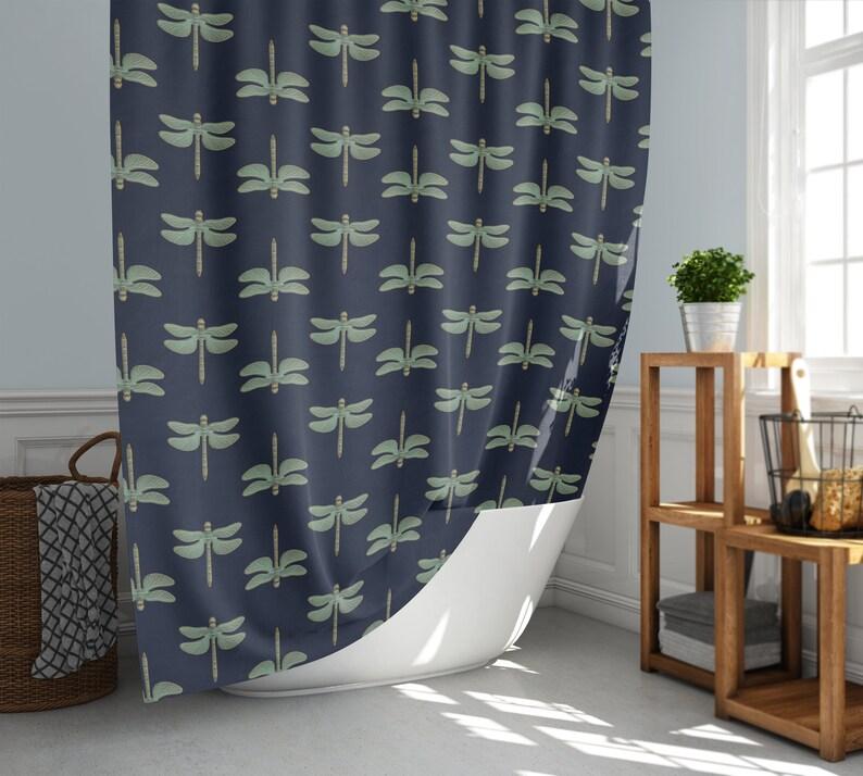 Green Graphic Dragonfly Pattern Shower Curtain Dark Blue image 0