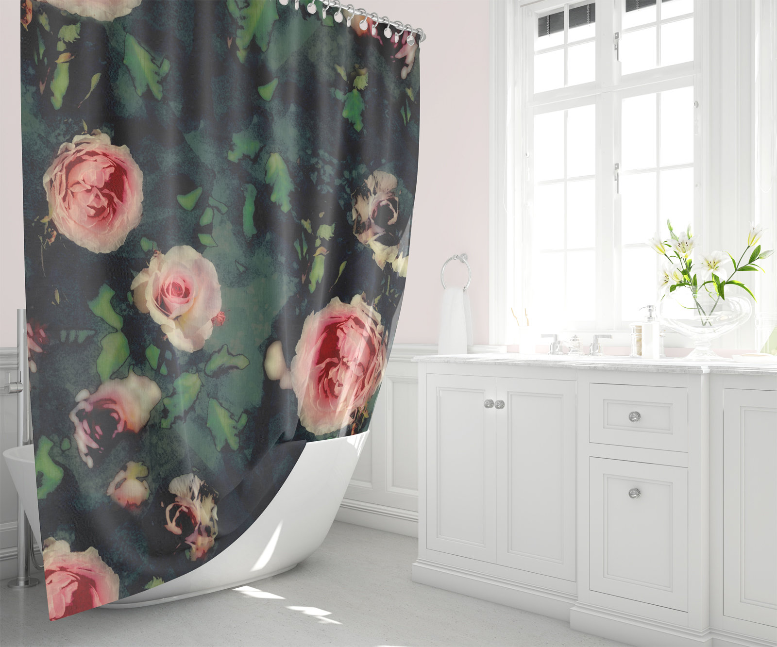 Big Pink Roses Dark Green Fabric Shower Curtain Graphic Roses Green Leaves Bathroom Decor
