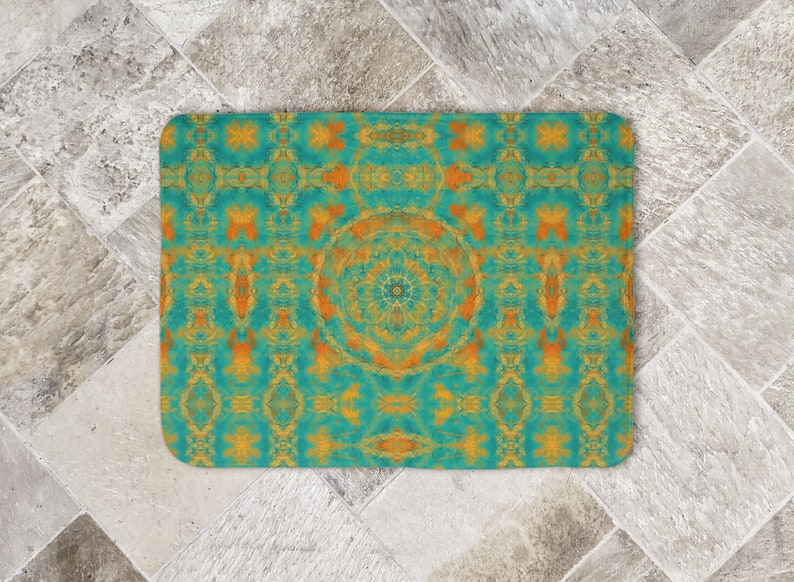 Burnt Orange Peacock Green Bath Mat Asymmetrical Mandala Tile image 0