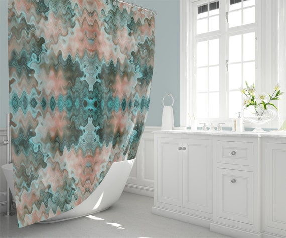 South Western Inspired Shower Curtain Wavy Desert Colours In Etsy Rh Com