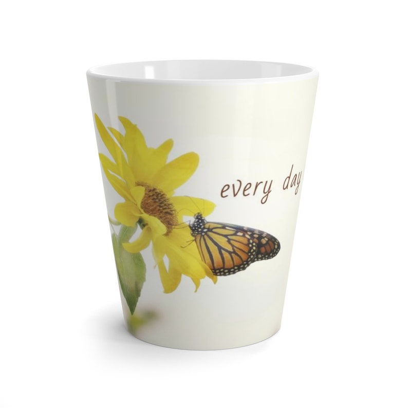 Monarch on Yellow Flower Coffee Mug Every Day is a Gift 12oz latte mug